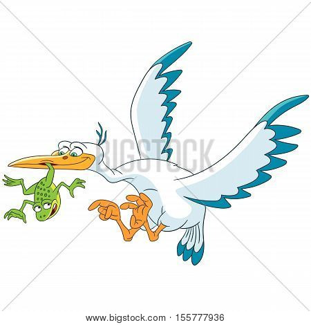 Cute and happy cartoon stork bird flying and frog isolated on white background. Childish vector illustration and colorful book page for kids.