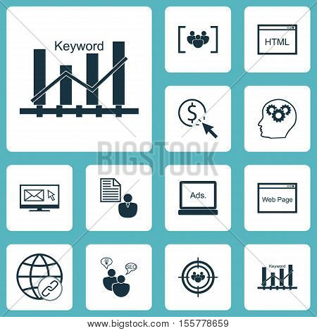 Set Of Marketing Icons On Questionnaire, Focus Group And Newsletter Topics. Editable Vector Illustra