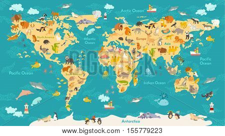 Animal map for kid. World vector poster for children cute illustrated. Preschool cartoon globe with animals. Oceans and continent: South America,EurasiaNorth, America,Africa Australia