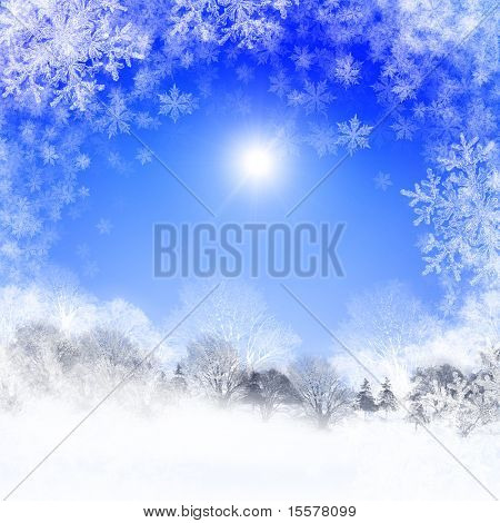 Abstract background with blue skies and sunshine. Christmas in the winter landscape. Happy New Year and Merry Christmas!