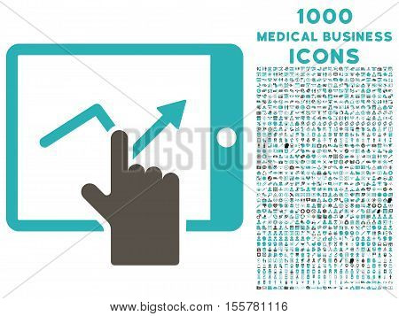 Tap Trend on Pda vector bicolor icon with 1000 medical business icons. Set style is flat pictograms, grey and cyan colors, white background.