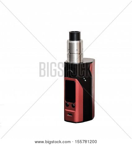 Vape. E-cigarette vaping box mod isolated. Rebuildable Dripping Vaping Atomizer