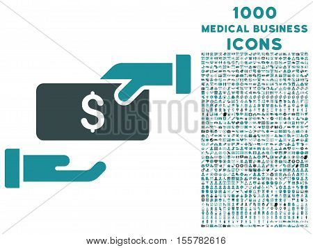 Bribe vector bicolor icon with 1000 medical business icons. Set style is flat pictograms, soft blue colors, white background.