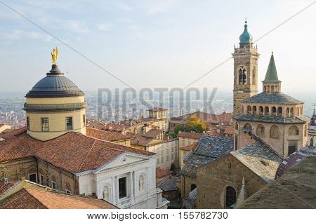 BERGAMO, ITALY. 28th OCTOBER 2016. The view from the upper town's civic tower.