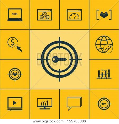 Set Of Marketing Icons On Keyword Marketing, Questionnaire And Video Player Topics. Editable Vector