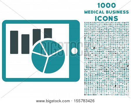 Charts on Pda vector bicolor icon with 1000 medical business icons. Set style is flat pictograms, soft blue colors, white background.