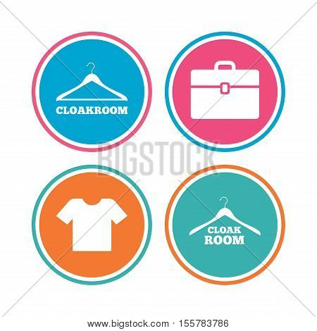 Cloakroom icons. Hanger wardrobe signs. T-shirt clothes and baggage symbols. Colored circle buttons. Vector