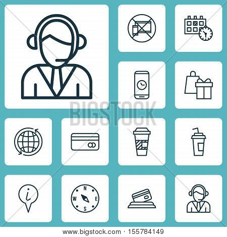 Set Of Traveling Icons On Shopping, World And Call Duration Topics. Editable Vector Illustration. In