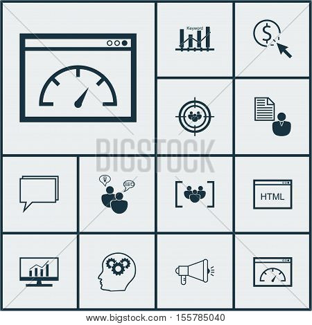 Set Of Seo Icons On Questionnaire, Media Campaign And Ppc Topics. Editable Vector Illustration. Incl