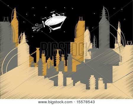 Scribble Science Fiction City Flying Blimp Vector