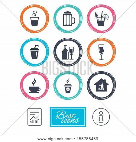 Cocktail, beer icons. Coffee and tea drinks. Soft and alcohol drinks symbols. Report document, information icons. Vector