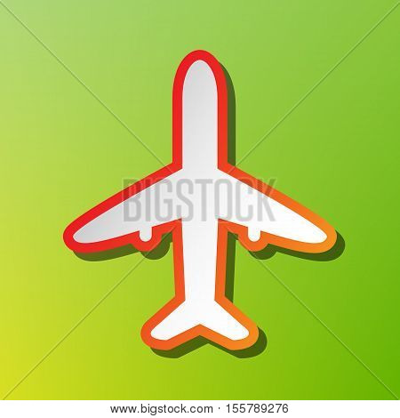 Airplane Sign Illustration. Contrast Icon With Reddish Stroke On Green Backgound.