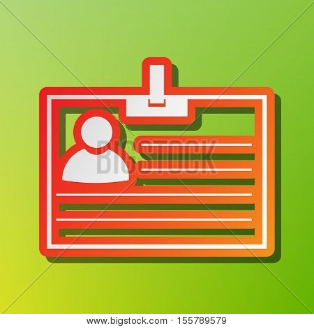 Id Card Sign. Contrast Icon With Reddish Stroke On Green Backgound.