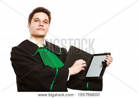 Technology and career legal advice. Young male lawyer hold tablet portable computer show advice and help.