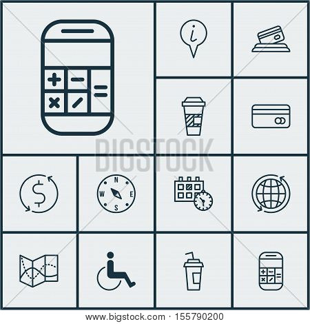 Set Of Travel Icons On Appointment, Locate And Accessibility Topics. Editable Vector Illustration. I