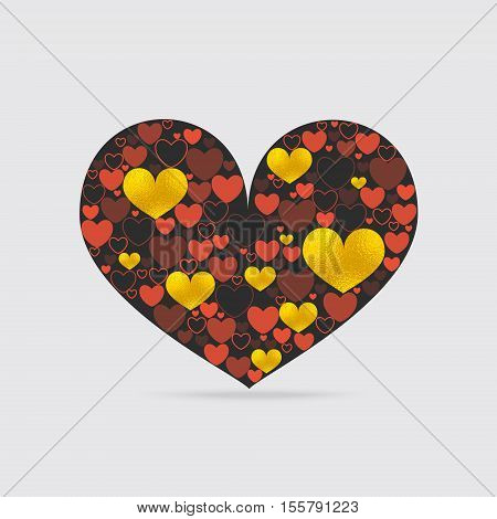 Decorative Heart Shape Filled with Hearts of Different Design. Hearts with Contour, Fill and Golden Texture.  Vector EPS 10