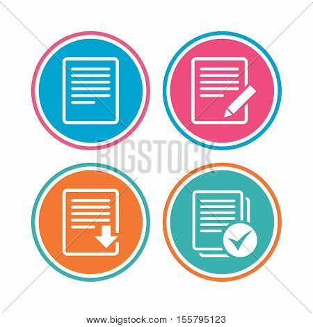 File document icons. Download file symbol. Edit content with pencil sign. Select file with checkbox. Colored circle buttons. Vector