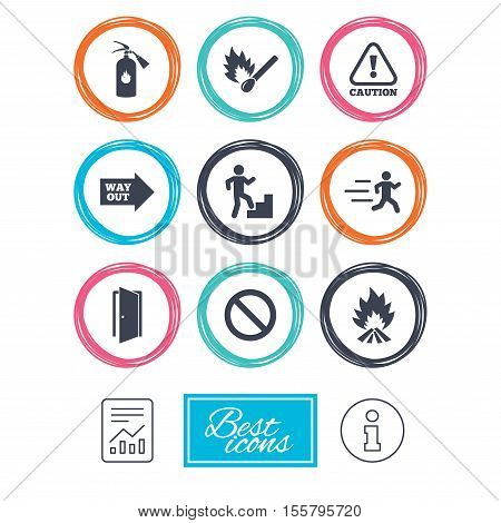 Fire safety, emergency icons. Fire extinguisher, exit and attention signs. Caution, water drop and way out symbols. Report document, information icons. Vector