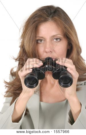 Beautiful Woman Looking Through Binoculars 4