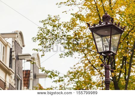 Traditional sity street view in details in old town European cities
