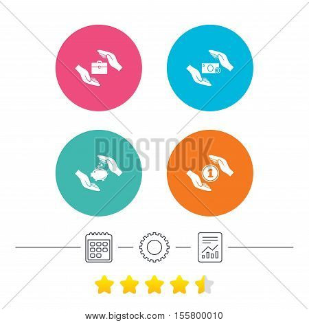 Hands insurance icons. Piggy bank moneybox symbol. Money savings insurance signs. Travel luggage and cash coin symbols. Calendar, cogwheel and report linear icons. Star vote ranking. Vector