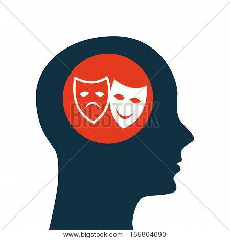 silhouette head. concept cinema theatrical mask vector illustration eps 10