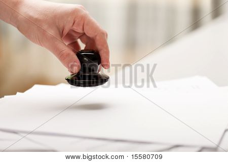 Hand Stamp Paper Document