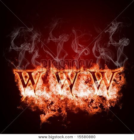 WWW in open fire on a black background
