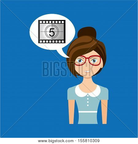beautiful girl concept cinema movie counting strip icon vector illustration eps 10