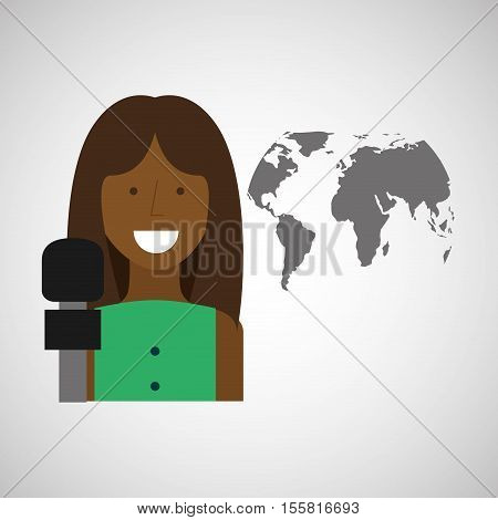 woman correspondent news world graphic vector illustration eps 10