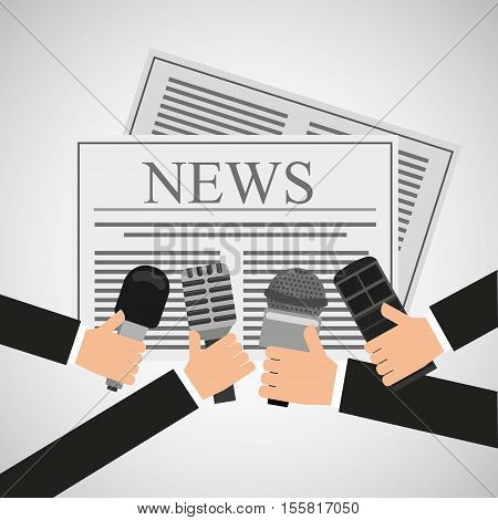 news hands reporter microphone and tape recorder vector illustration eps 10