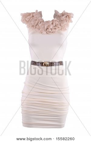 Powdery Color Cocktail Designer Dress With Brown Belt