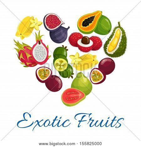 Exotic fruits heart symbol. Vector papaya, mango, carambola and feijoa, passion fruit maracuya, dragon fruit and lychee, durian and guava, fig, mangosteen fruit icons