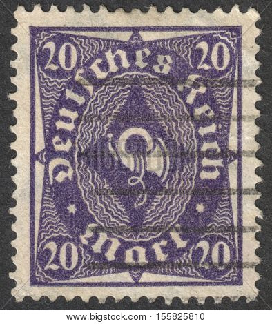 MOSCOW RUSSIA - CIRCA OCTOBER 2016: a post stamp printed in GERMANY shows a posthorn the series