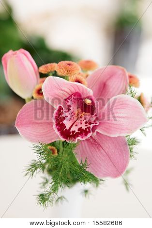Bouquet Of Orchid Flowers And Tulips