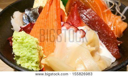 the Japanese raw fish rice bowl donburi