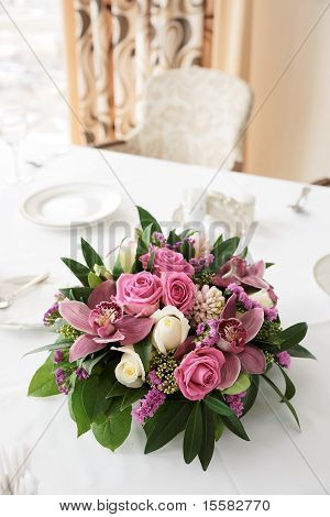 Boquet Of Orchid Flowers And Tulips