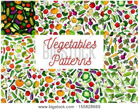 Vegetables patterns set. Background of vegetable icons. Seamless vegan background of fresh natural farm veggies cabbage, cauliflower and pepper, tomato and cucumber, pumpkin and broccoli, carrot, daikon radish, beet, potato, eggplant