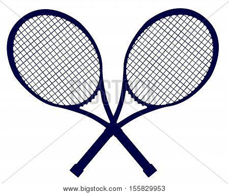 A pair of crossed tennis rackets in silhouette isolated over a white background
