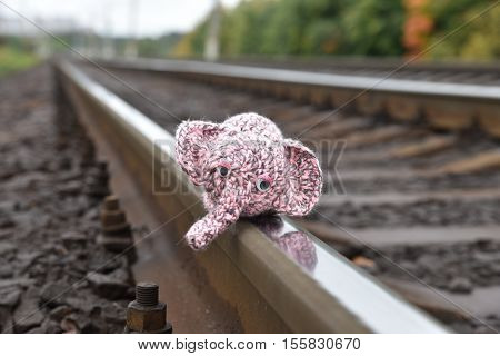Loneliness. Concept. Toy elephant on rails. Abandoned