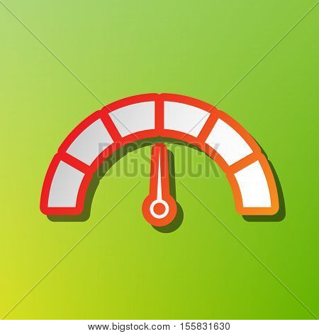 Speedometer Sign Illustration. Contrast Icon With Reddish Stroke On Green Backgound.