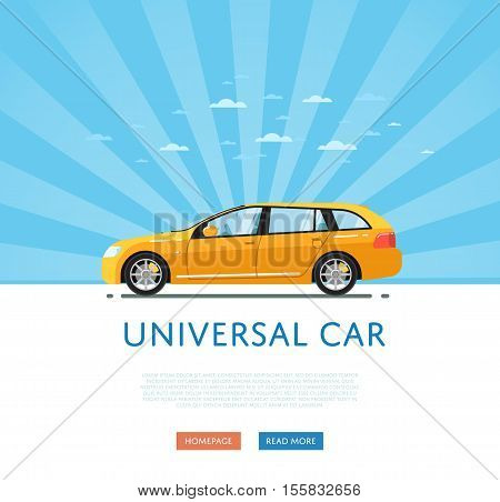 City car isolated on rays background. Vector station wagon car. Vehicles cartoon car isolated. Station wagon car side view isolated. Urban car or family car cartoon style. Modern car model. Car icon. For car rental service or car sale poster. Car ad.