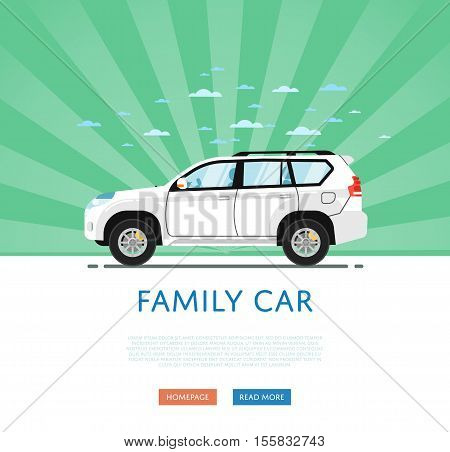 SUV car isolated on rays background. Vector SUV car. Sport utility Vehicles cartoon car isolated. SUV car side view isolated. Offroad car or 4x4 car cartoon style. Modern car model. Off road 4x4 car. For car rental service or car sale poster. Car ad.