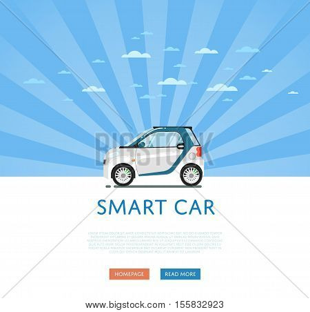 City car isolated on rays background. Vector compact smart car. Vehicles cartoon car isolated. Smart car side view isolated. Urban car or compact car cartoon style. Modern car model. Smart car icon. For car rental service or car sale poster. Car ad.
