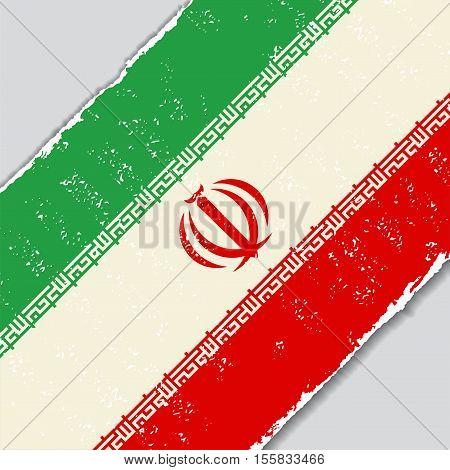 Iranian grunge flag diagonal background. Vector illustration.