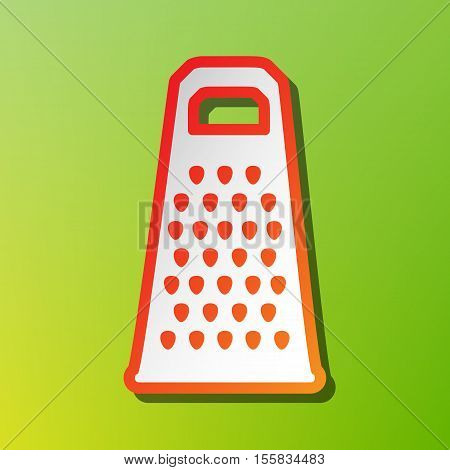 Cheese Grater Sign. Contrast Icon With Reddish Stroke On Green Backgound.