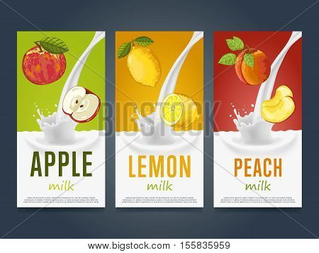 Milkshake concept with milk splash and fruit vector illustration. Milk dessert, yogurt, fruit mix, cocktail drink, fruit smoothie with apple, lemon and peach packaging design template. Dairy product.