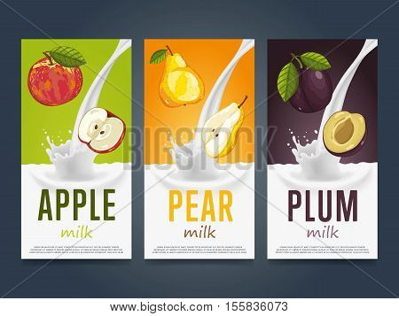 Milkshake concept with milk splash and fruit vector illustration. Milk dessert, yogurt, fruit mix, cocktail drink, fruit smoothie with apple, pear and plum packaging design template. Dairy product.