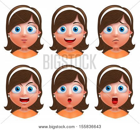 Girl avatar vector character. Set of portrait of young girl face with facial expressions wearing headband isolated in white background. Vector illustration.