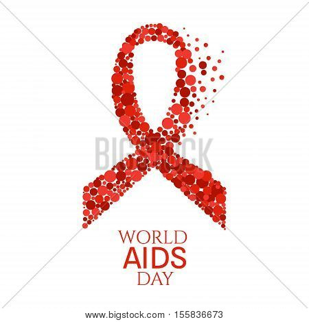 AIDS awareness poster. World AIDS Day symbol. Red ribbon made of dots on white background. Medical concept. Vector illustration.